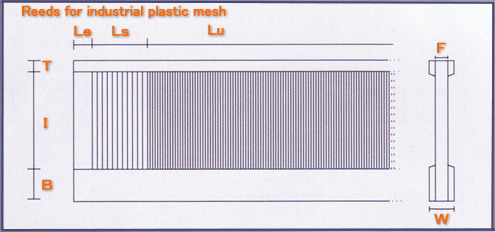 Reeds for industrial plastic mesh